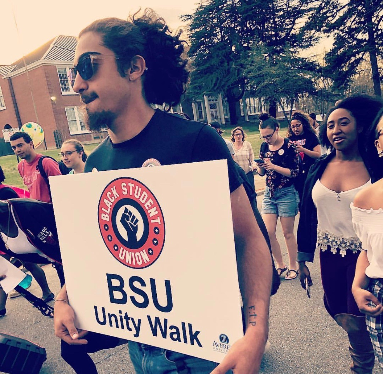 BSU members walking for the Unity event