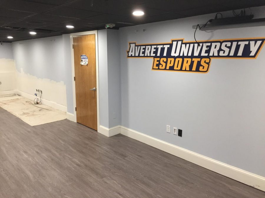 Recently installed drywall in the esports room.