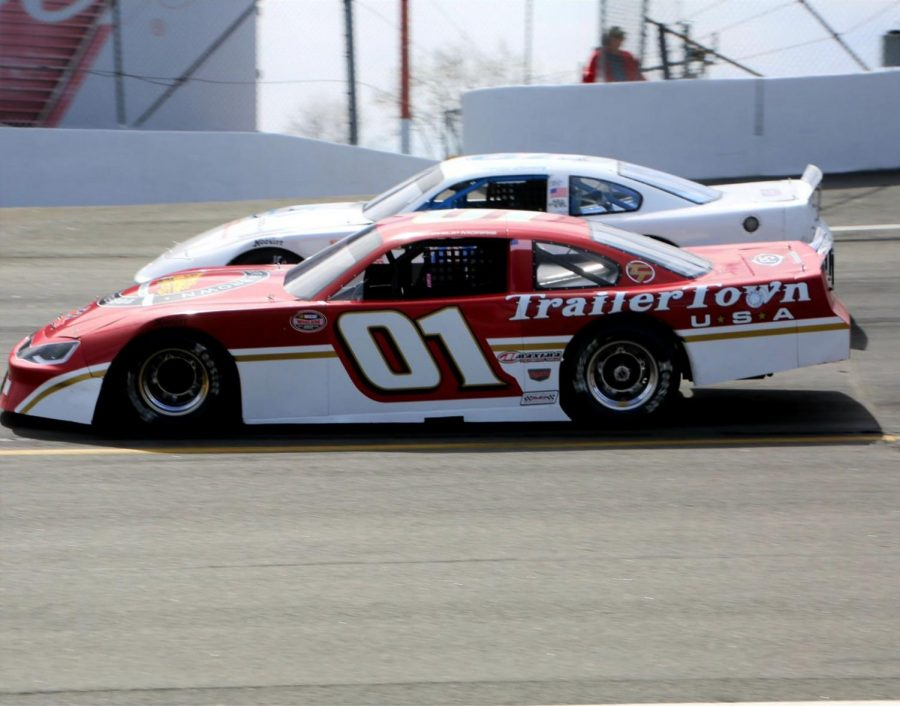 Phillip+Morris+and+Mike+Looney+battling+during+one+of+The+Danville+Toyota+Twin+100+races+at+South+Boston+Speedway.