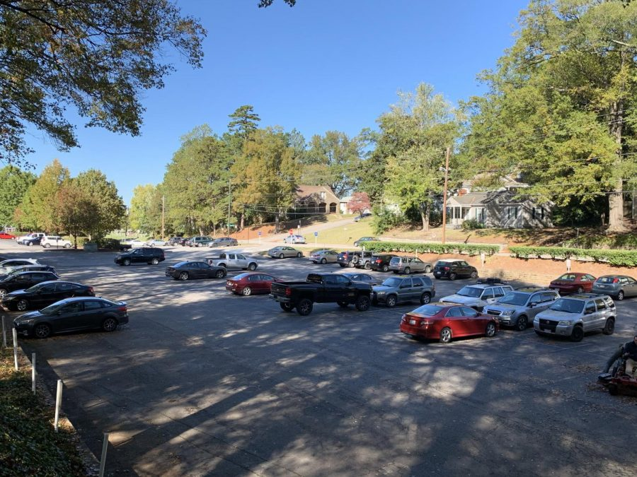 Commuter student cars parked near Frith Hall.