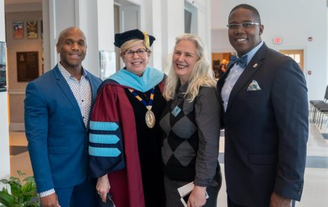 Alumni speakers pose with Averett President Dr. Tiffany Franks before the Founder's Day ceremony. L to R: Kenneth Bain, Dr. Tiffany Franks, Elsabé Dixon, and Hermon Mason. Photo courtesy of Travis Dix, Office of Institutional Advancement.