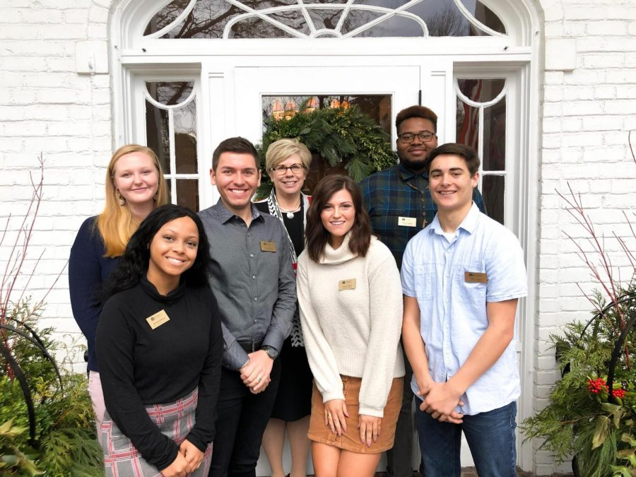 The newly appointed Presidential Ambassadors pose with Averett President Dr. Tiffany Franks in front of the President's house. L to R: Allison Haran, Aariyana Britton, Grayson Eaton, Delaney Sullivan, Maleek Pulliam, and William Caviness. (Owen Story is not pictured)
