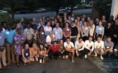 The 2019 Averett University international dinner at the President's house.