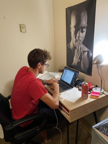 Junior student Lluc Pou working on his online assignments.